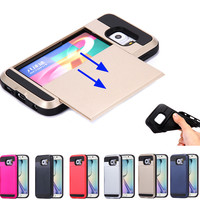 S6 /Edge Capa Dual Hybrid Back Card Slots Armor Case For Samsung Galaxy S6 G9200/S6 Edge Moblie Phone Cover Shockproof Shell