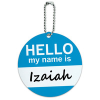 Izaiah Hello My Name Is Round ID Card Luggage Tag