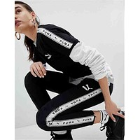 PUMA Fashion Women Lengging More Logo Pants B-YF-MLBKS Black