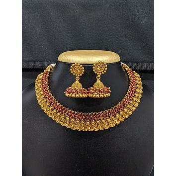 Peacock design Antique Gold plated Choker Necklace and Jhumka Earrings set