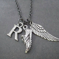 I Run. I Fly. Large Wing Running Necklace - Your Initial - Gunmetal chain - Add a Distance or XC Charm - Personalized Runner Necklace - Run
