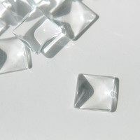 Cabochon Glass Bead - 20mm, Square Dome Flatback, Clear Trasparent