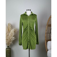 Slinky Ruched Shirt Dress in Shimmer Green