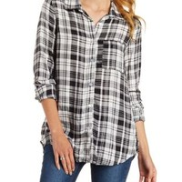 Ivory Multi Flyaway Plaid Button-Up Top by Charlotte Russe