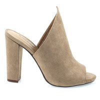Limelight17M Camel by Bamboo, Camel Pointed Wing Peep Toe Slide In Mule Sandal w Block High