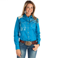 Women's Cruel Girl Solid Turquoise Lace Back Snap Shirt