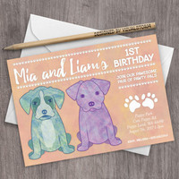Puppy Party Birthday Invitation Twins First Birthday Watercolor Boxer Labrador Double Party Printable Invite 5x7 Boy Girl Sibling Invitation