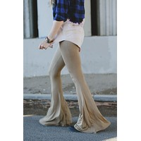 Cher Solid Flare Pants - Khaki