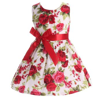 Floral Children Baby Dresses Girl Wedding Party;Princess 1 Year Birthday Girls Dress Cotton