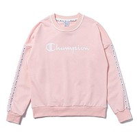 Champion Autumn And Winter Fashion New Letter Print Women Long Sleeve Top Sweater Pink