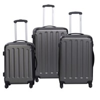 GLOBALWAY 3 Pcs Luggage Travel Set Bag ABS+PC Trolley Suitcase Gray - Walmart.com