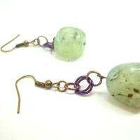 Jewelry, Earrings, Beautiful Stone Earrings with Handmade Chainmaille jump rings, READY to SHIP, Boro Ballers