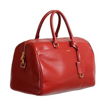 Saint Laurent Women's Bright Red Calfskin Leather Classic Duffle 12 Bag