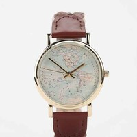 Braided Leather Map Watch
