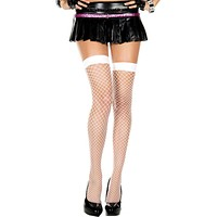 White Diamond Fishnet Spandex Thigh High