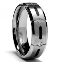 7MM Titanium Ring Wedding Band with Resin Inlay and 3 Stone CZ Sizes 7 to 13