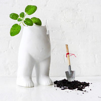Tushiez Spring Planter 5 INCH size - Cute Garden Planter in Black or White
