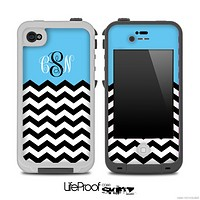 Blue White Black Custom Monogram Chevron Pattern for the iPhone 5 or 4/4s LifeProof Case