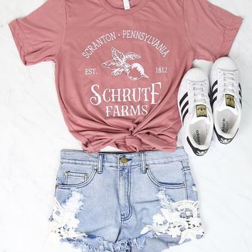 Distracted - Shrute Farms Beets Bed and Breakfast Graphic Tee in Pink