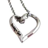 "Daddy's Girl Stainless Steel Heart Charm Necklace, 20mm Charm, 16"" Chain"