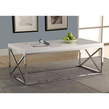 Modern Coffee Table in Glossy White with Chrome Metal Frame
