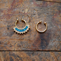 Tribal Turquoise Faux Septum Piercing , Gold Clip On Septum Ring
