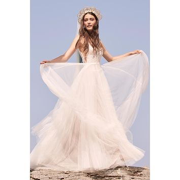 Willowby by Watters Delena 4402  Boho Lace and Tulle Deep V Neckline Illusion Back Wedding Dress