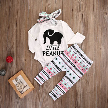 Little Peanut Baby Girl Romper Onesuit Set .  Romper Pants and Matching Headband