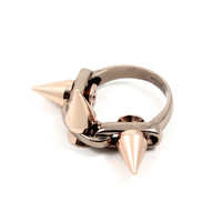 Midnight Rose Ring w/ 3 Spike - Brown/Rose Gold Spikes