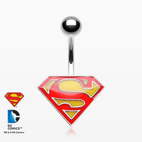 Superman Logo Belly Button Ring