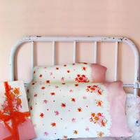 Vintage Feedsack Opened Feed Sack Border Print Pillowcases, Pillow Cases, Cotton Fabric, Pink Flora,l Deadstock