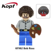 KF982 Super Heroes American Painter Bob Ross The Joy of Painting Bricks Building Blocks Learning Christmas Toys Gift Children