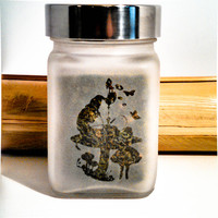 The Hookah Smoking Caterpillar Etched Glass Storage & Stash Jar - Collectible Fantasy Alice in Wonderland Gift - Fairy Tale Decorative Gift