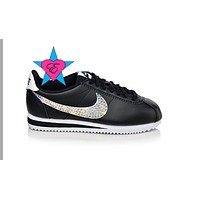 Custom Black Crystal Kicks Nike Cortez Womens