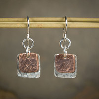 Handcut and Hammered Recycled Sterling Silver and Copper Square Earrings