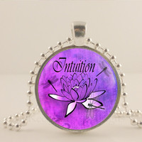 """Intuition, purple, lotus flower, 1"""" glass and metal Pendant necklace Jewelry."""