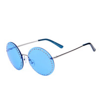 Roundness blue Lens sunglasses