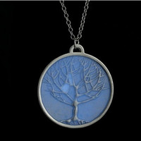 Silver Plated Glow In Dark Round Life Tree Necklace Pendants