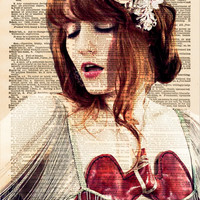 Florence + The Machine, Florence Welch, Dictionary Page, Wall Decor, Book Art, Dictionary Art Print, Mixed Media Art