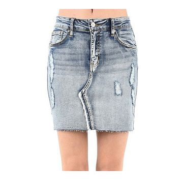 Stretchy Soft Cotton High Rise Distressed Denim Mini Skirt