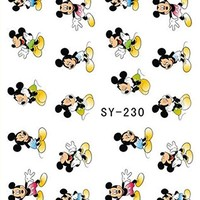 3 Sheets Mickey Mouse & Minnie Disney Cartoon Nail Art Stickers Water Transfer Decals SY230