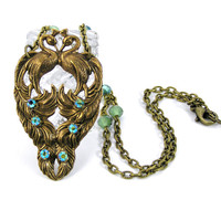 Peacock Necklace, Rhinestone Necklace, Vintage Style Jewelry