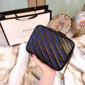 Balenciaga Blanket Reporter XS printed quilted leather shoulder bag