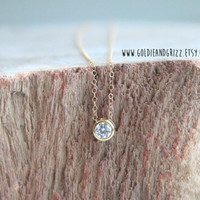 16k Gold Plated Cubic Zirconia Tiny Round Necklace - 24 inch chain