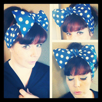 Blue with White Polka Dots Headwrap Bandana Rockabilly Hair Big Bow Tie 1940s 1950s Vintage Style - Rockabilly - Pin Up - For Women, Teens