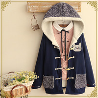Kawaii cats hooded jacket cotton-padded clothes
