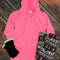 Long Hooded Sweatshirt: Hot Pink