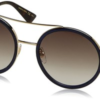 Gucci Womens 56mm Round Sunglasses, One Size, Gold / Brown / Gold