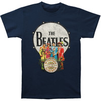 Beatles Men's  Sgt. Pepper & Drum Vintage T-shirt Navy