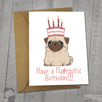 Pug Pugtatstic Birthday Card,  Approximately 5 x 7 Blank Card with Kraft Envelope, Animal and Dog Illustration, Red and Pink Color Theme